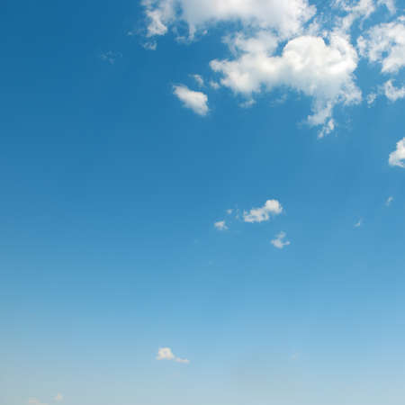 winter sky: beautiful white clouds in blue sky Stock Photo