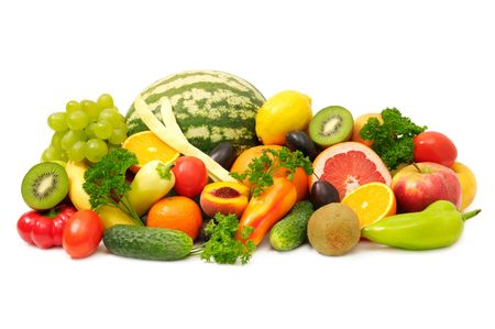 fruit market: fruits and vegetables isolated on a white                                     Stock Photo