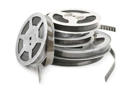 video reel: Old film strip isolated on white background