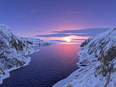 wśród: rzeki wśród gór śnieg granice na zachodzie słońca