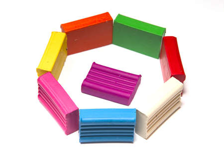 bright plasticines bars on a white background photo