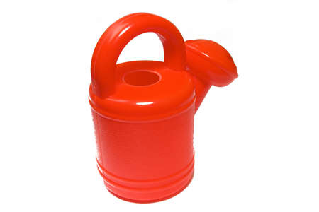 wateringcan: brightly red watering-can on a white background Stock Photo