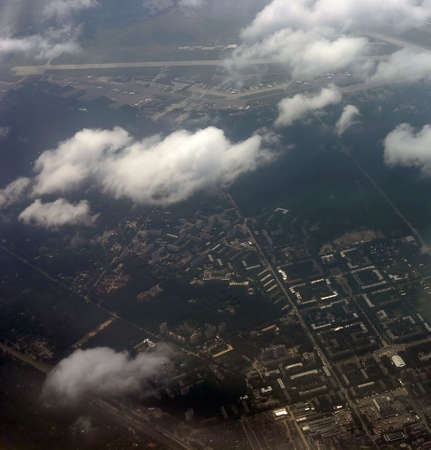 kind on a city from an airplane from the height of bird flight photo