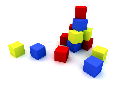 varicoloured child's blocks for games in outdoor on a white background Stock Photo - 591421