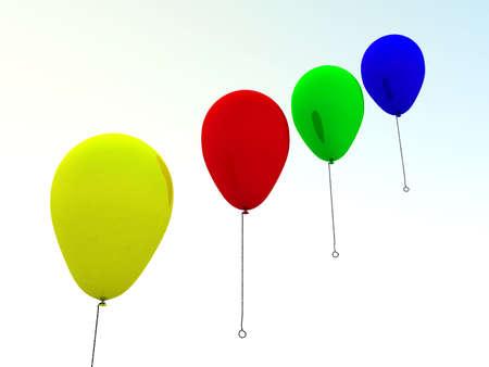 vibrant colors fun: Varicoloured palloncini volare sul aereo su uno sfondo cielo Archivio Fotografico