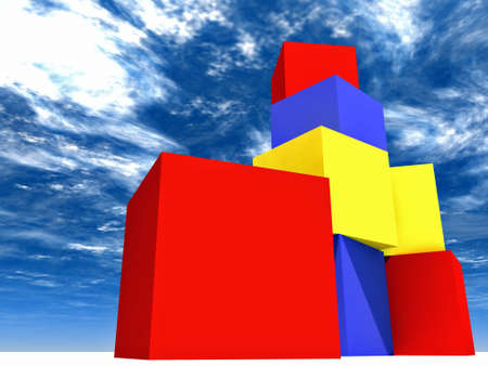 varicoloured childs blocks for games in outdoor on a background from sky photo