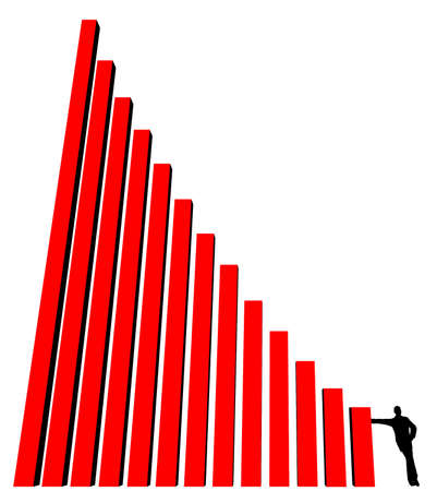 silhouette of business man, leaning against part of histogram on a white background Stock Photo - 637238