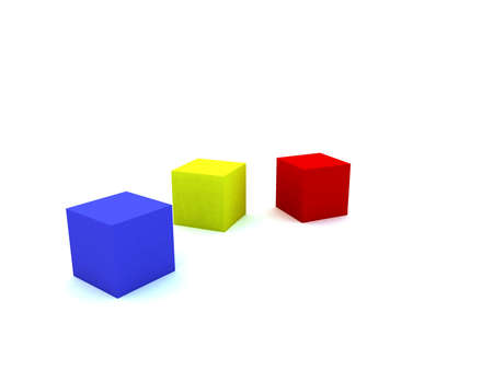 varicoloured childs blocks for games in outdoor on a white background photo
