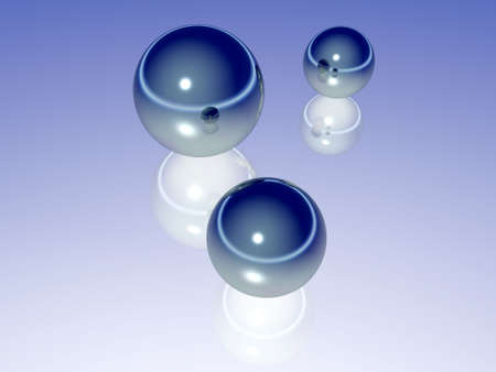 abstract balls and their reflections Stock Photo - 637256