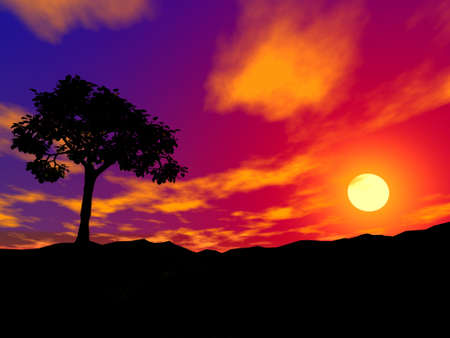 silhouette of a be single tree on sunset in rocky locality Stock Photo - 637255