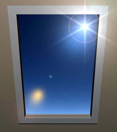 keys to heaven: opened window with a kind on dark blue nightly sky Stock Photo