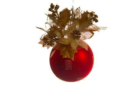 red fir-tree new-year ball on a white background Stock Photo - 637516