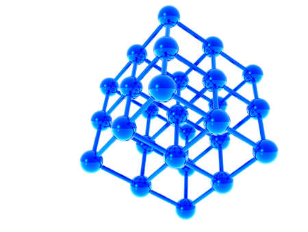 researches: a molecular structure in a dark blue color is executed on a white background