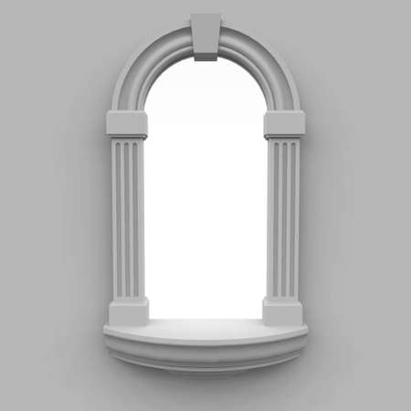 window, executed in classic style, with a kind on a white background