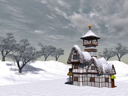 a fairy-tale cottage is by a winter day on a background cloudy sky Stock Photo