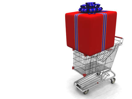 shopping buggy: story light cart with a large gift on it, packed in the red decorative wrapping