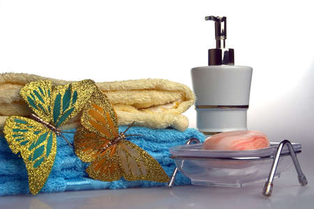 belongings: bath belongings, soap, towel, perfumery, prepared for the use on a white background Stock Photo