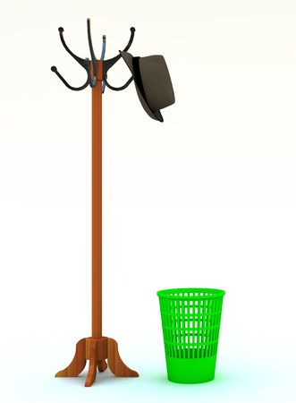 peg: floor peg with a hat and refuse bin in to the antechamber on a white background Stock Photo