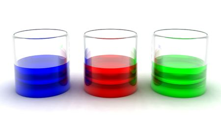 multicoloured drinks in transparent glasses on a white background photo