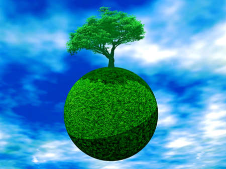 a tree is juicy green color on earth on a background cloudy sky Stock Photo - 750396