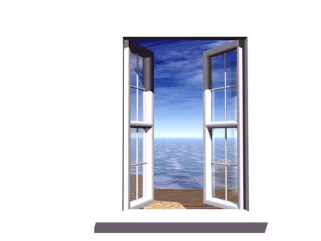 way of living: opened window with a fairy-tale kind on an beach, ocean and sky