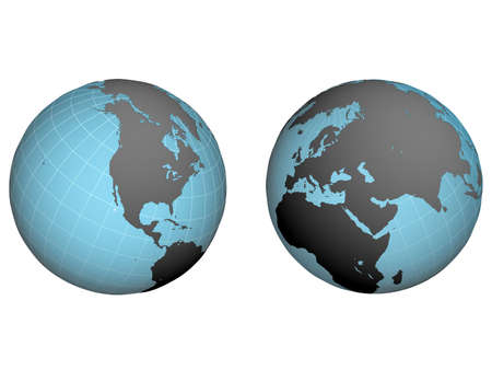 hemispheres: western and east hemispheres of earth with the inflicted net on a white background