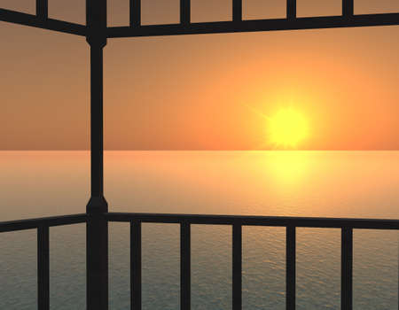 a sunset above a quiet sea on a background sky and rails of balcony