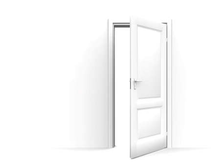 unclosed: wall and opened door on a white background Stock Photo