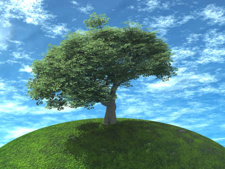 a tree is juicy green color on earth on a background cloudy sky Stock Photo - 883107