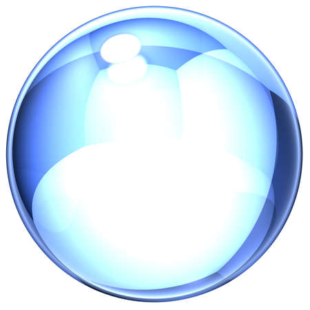 blue soap-bubble with the specks of light and reflections on a white background photo