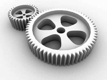 pair of cog-wheels with in a number of indents on a white background photo