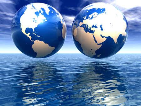 west and east hemispheres of earth on a white background and with a reflection in water photo