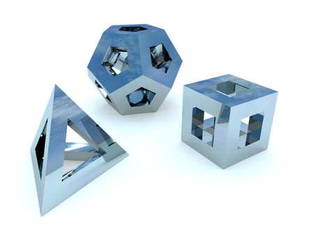 figuras abstractas: figuras abstractas de un metal azul en un fondo blanco