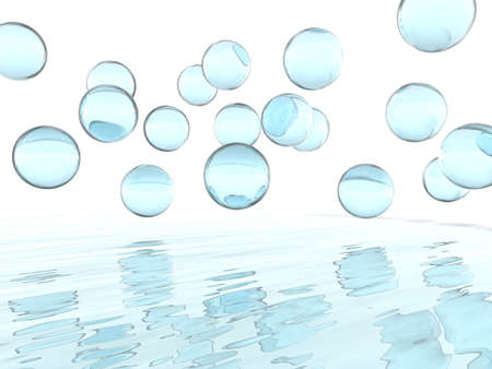 abstract soap liquid balls and their reflections Stock Photo - 964694