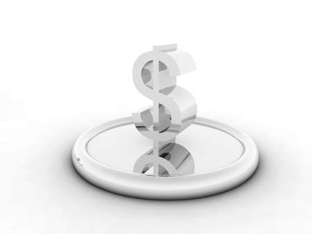 silvery character of dollar on round support on a white background photo