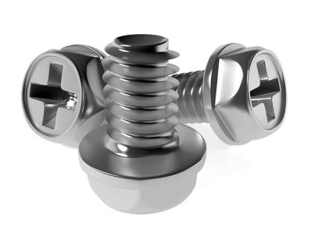 grey brilliant polished metallic screw-bolts on a white background Stock Photo - 1290638