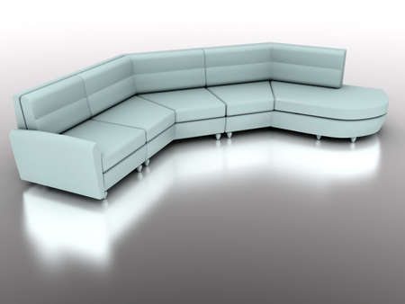 light green modern sofa with the washed out reflection on the grey floor photo