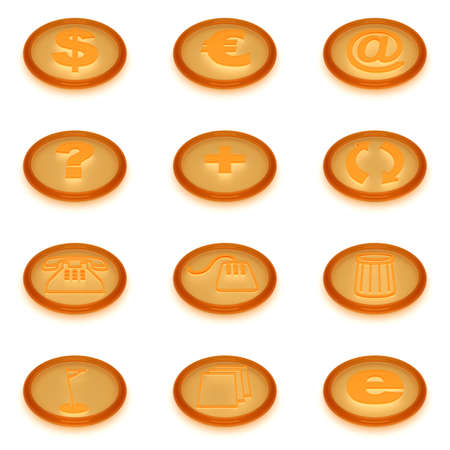 set of icons of round form from yellow liquid material on a white background photo