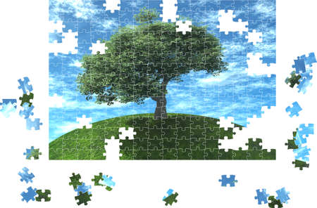 Puzzle made of a picture of a tree on a background of the blue sky Stock Photo - 1674529