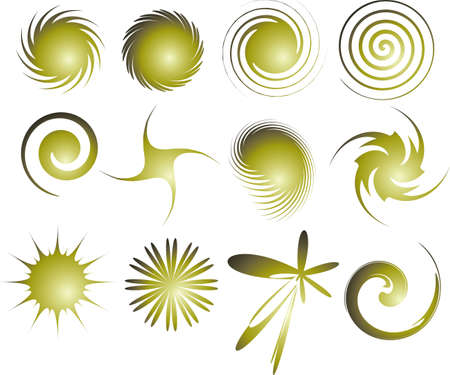 Icons of a yellow gradient of the freakish form on a white background Vector