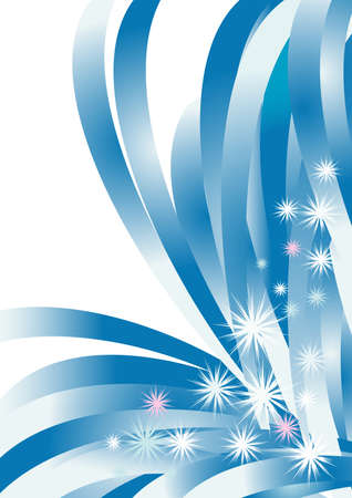 simplicity: Large beautiful snowflakes on a background of blue and white lines and gradient Illustration