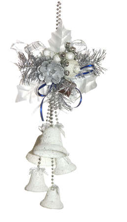 new-year decoration from bows and bluebells on a white background photo