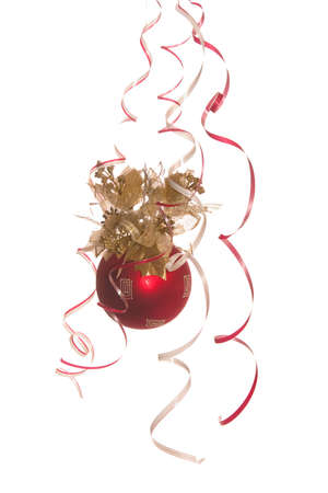 dark red fir-tree new-year ball on a white background Stock Photo - 1769542