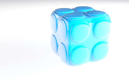 blue childs block for games in outdoor on a white background photo