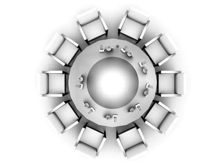 The top view on a round table served by tablewares on a white background photo