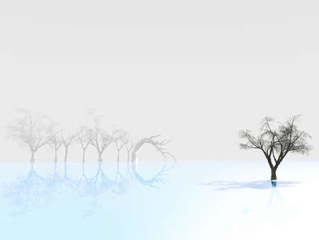 tree reflected on blue ice, on a background of foggy outlines of trees Stock Photo - 1898216