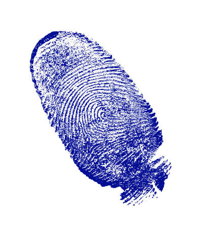 fbi: finger-print man, done on the white sheet of paper a blue paint