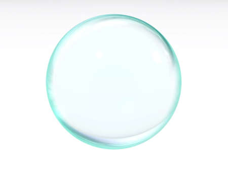 abstract liquid blue transparent ball with the specks of light and reflections on a white background Stock Photo - 1990812