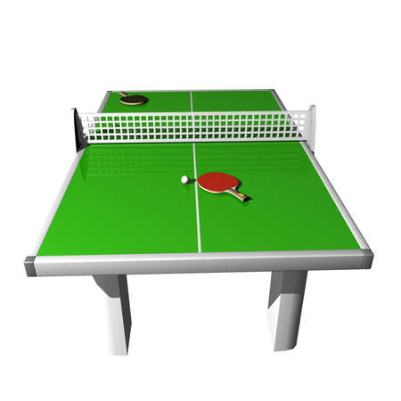 serves: table tennis, 2 rackets and ball on a white background