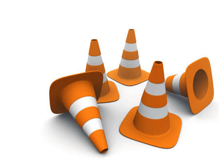 bypass: Cone pins of the red-white color used in construction on road